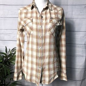 HURLEY Plaid Button Up - L